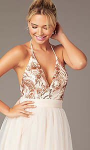 Image of short homecoming dress with rose gold sequins.  Style: MCR-PL-2942 Detail Image 1