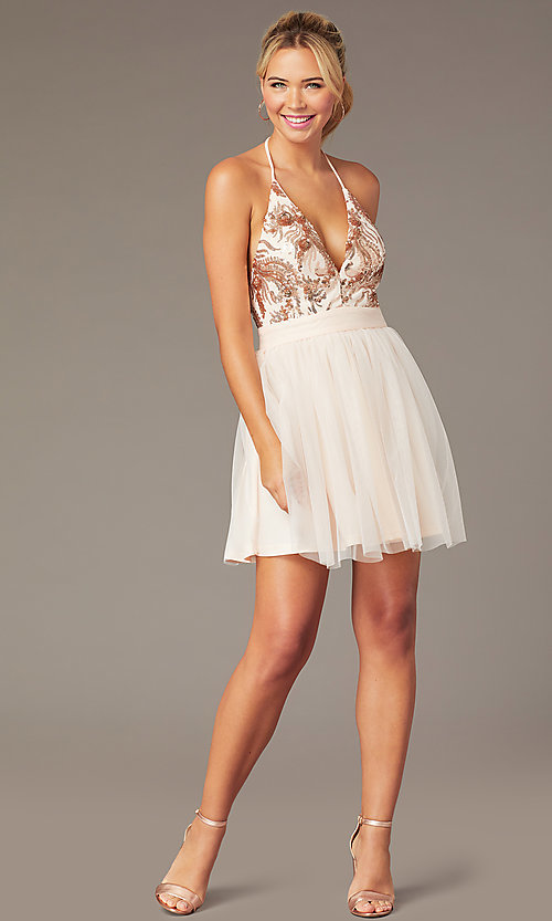 Image of short homecoming dress with rose gold sequins.  Style: MCR-PL-2942 Front Image