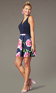 Image of floral-print-skirt short navy homecoming dress. Style: MCR-PL-2906 Front Image
