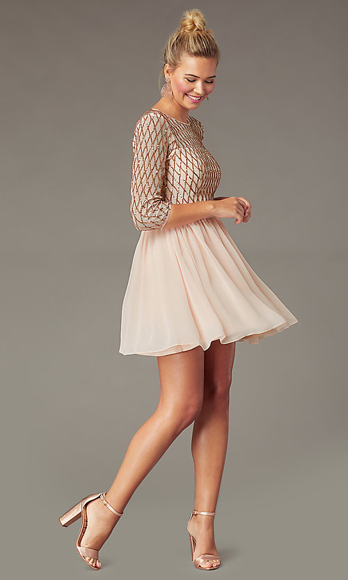 Image of sequin-bodice short rose gold chiffon party dress. Style: MCR-PL-2931 Front Image