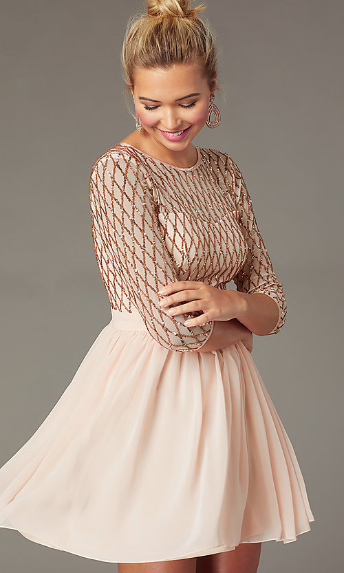 Image of sequin-bodice short rose gold chiffon party dress. Style: MCR-PL-2931 Detail Image 1