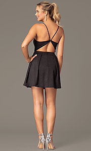 Image of glitter-knit short black homecoming party dress. Style: MCR-PL-2909 Back Image