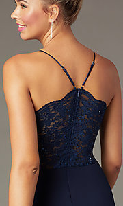 Image of lace-back navy blue tight short party dress. Style: MCR-PL-2913 Detail Image 1