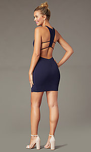 Image of navy blue short homecoming party dress with t-back. Style: MCR-PL-2876 Front Image