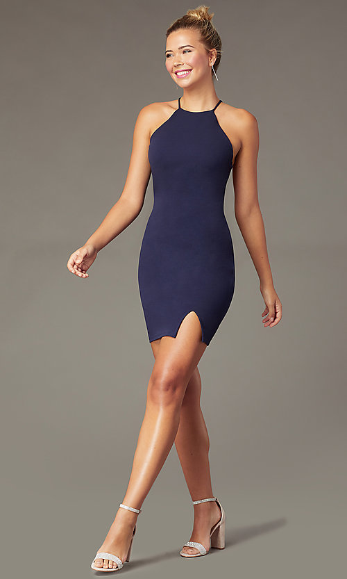 Image of navy blue short homecoming party dress with t-back. Style: MCR-PL-2876 Back Image