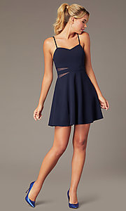Image of navy blue short homecoming dress with sheer sides. Style: MCR-PL-2840 Front Image