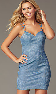 Image of glitter-knit short blue homecoming party dress. Style: DQ-PL-3131 Detail Image 1