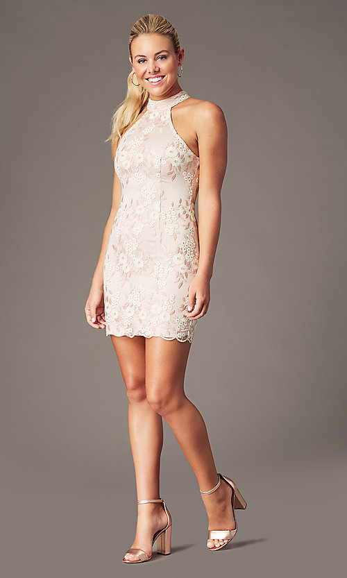 Image of embroidered mock-neck mauve pink homecoming dress. Style: MT-PL-1340 Detail Image 1