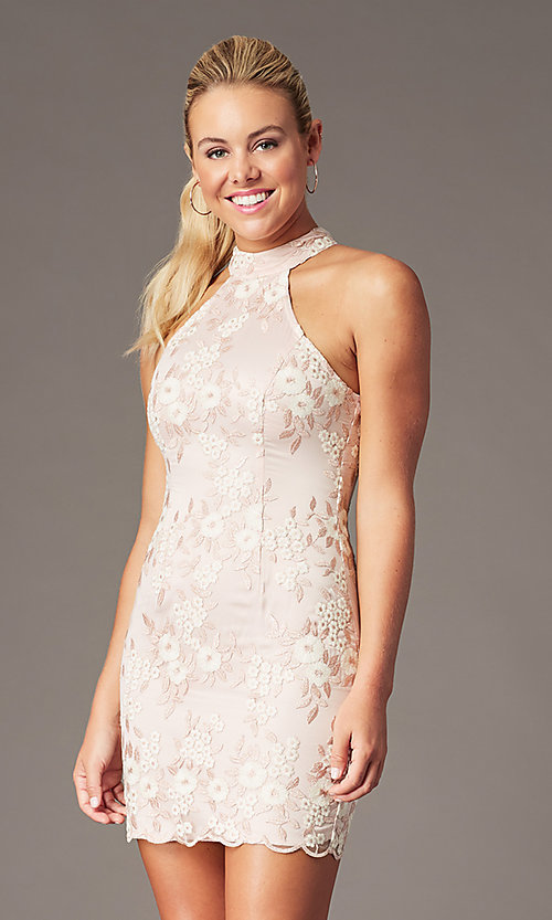 Image of embroidered mock-neck mauve pink homecoming dress. Style: MT-PL-1340 Front Image
