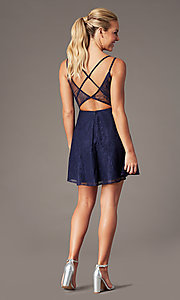 Image of plunging-v-neck short lace homecoming party dress. Style: MT-9928-1 Front Image
