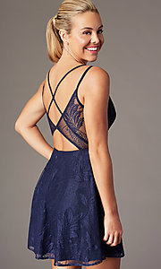 Image of plunging-v-neck short lace homecoming party dress. Style: MT-9928-1 Detail Image 1