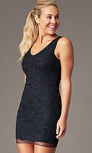 Image of beaded short sleeveless homecoming party dress. Style: MT-9477 Front Image