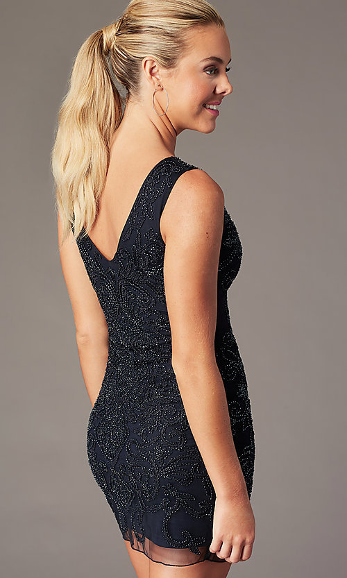 Image of beaded short sleeveless homecoming party dress. Style: MT-9477 Back Image