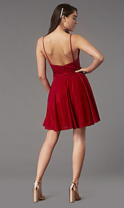 Image of v-neck glitter short homecoming dress with pockets. Style: FB-GS2837 Back Image