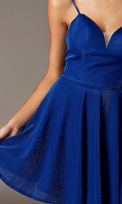 Image of v-neck glitter short homecoming dress with pockets. Style: FB-GS2837 Detail Image 4