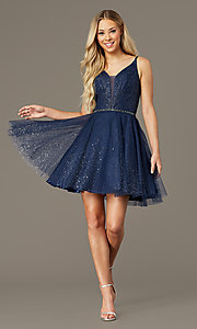 Image of short glitter homecoming dress with scoop back. Style: FB-GS2865 Detail Image 1