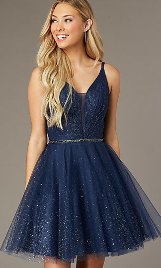 Short Glitter Homecoming Dress with Scoop Back