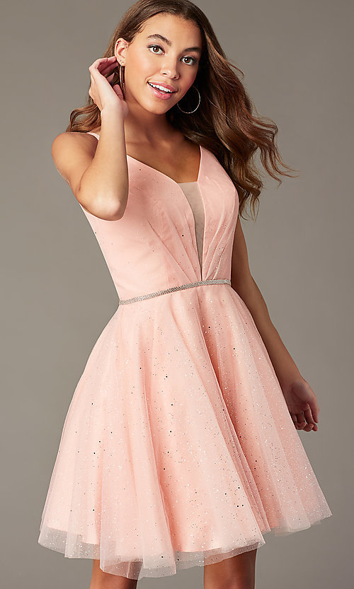 Image of short glitter homecoming dress with scoop back. Style: FB-GS2865 Detail Image 3