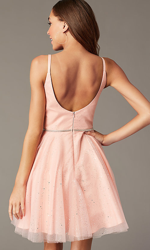 Image of short glitter homecoming dress with scoop back. Style: FB-GS2865 Detail Image 4