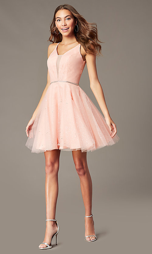 Image of short glitter homecoming dress with scoop back. Style: FB-GS2865 Detail Image 5
