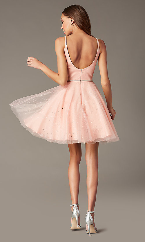 Image of short glitter homecoming dress with scoop back. Style: FB-GS2865 Detail Image 2