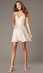 Image of metallic-knit short v-neck hoco dress in rose gold. Style: FB-GS2838 Detail Image 1