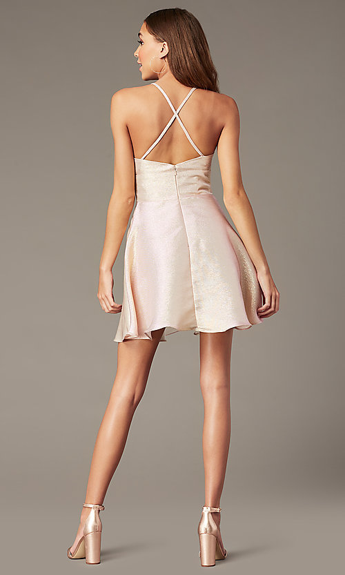 Image of metallic-knit short v-neck hoco dress in rose gold. Style: FB-GS2838 Back Image