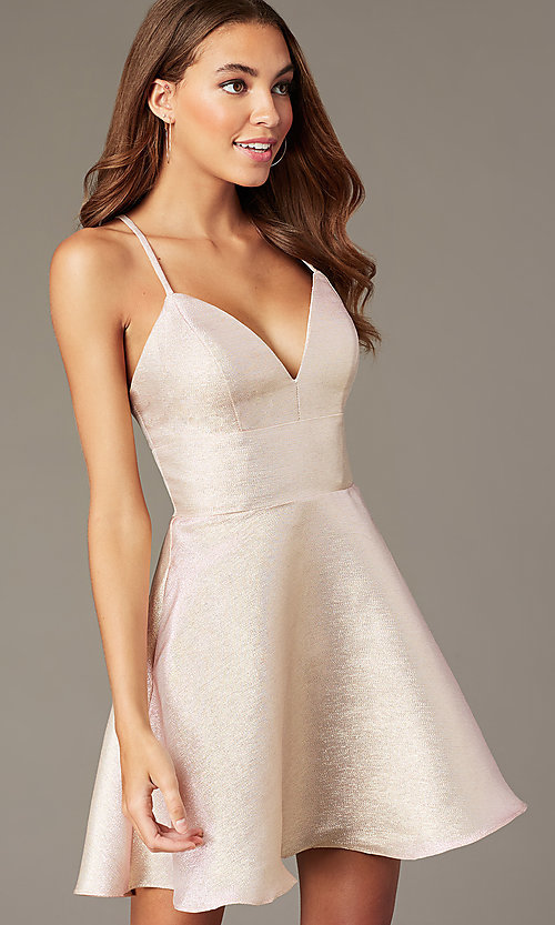 Image of metallic-knit short v-neck hoco dress in rose gold. Style: FB-GS2838 Front Image