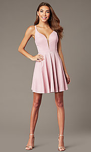 Image of short homecoming dress in mauve pink metallic knit. Style: FB-GS2839 Front Image