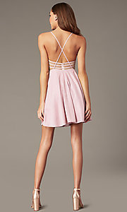 Image of short homecoming dress in mauve pink metallic knit. Style: FB-GS2839 Back Image