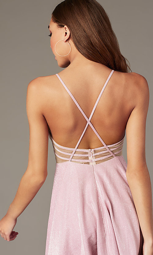 Image of short homecoming dress in mauve pink metallic knit. Style: FB-GS2839 Detail Image 2