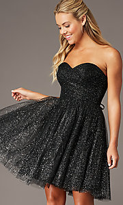 Image of strapless short sparkly homecoming party dress. Style: FB-GS2868 Front Image