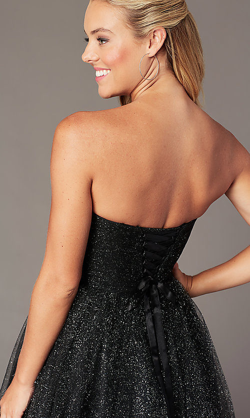 Image of strapless short sparkly homecoming party dress. Style: FB-GS2868 Detail Image 3