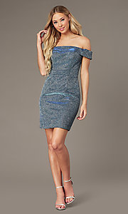 Image of short off-the-shoulder glitter homecoming dress. Style: FB-GS2856 Detail Image 1
