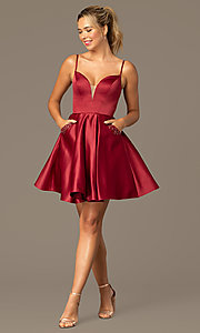 Image of short caged-back a-line party dress with pockets. Style: NA-N670 Detail Image 5