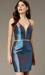 Image of corset tie-back iridescent short hoco dress. Style: NA-M690 Front Image