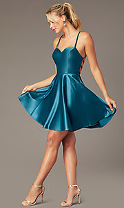Image of short skater-style open-back party dress. Style: NA-M658 Front Image