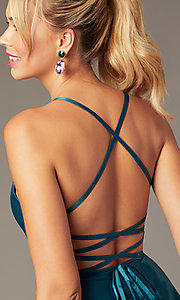 Image of short skater-style open-back party dress. Style: NA-M658 Detail Image 1