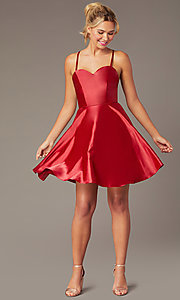 Image of short skater-style open-back party dress. Style: NA-M658 Detail Image 5