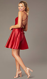 Image of short skater-style open-back party dress. Style: NA-M658 Detail Image 6