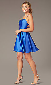 Image of short skater-style open-back party dress. Style: NA-M658 Detail Image 2