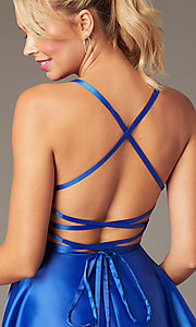 Image of short skater-style open-back party dress. Style: NA-M658 Detail Image 4