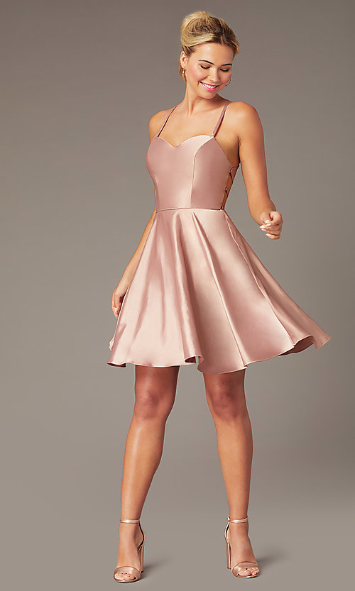 Image of short skater-style open-back party dress. Style: NA-M658 Detail Image 7