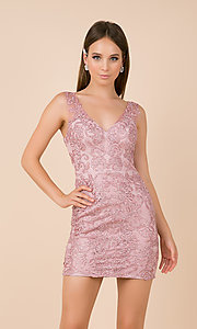 Image of embroidered-mesh short formal homecoming dress. Style: NA-A671 Detail Image 4
