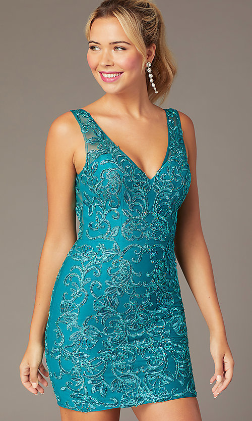 Image of embroidered-mesh short formal homecoming dress. Style: NA-A671 Front Image