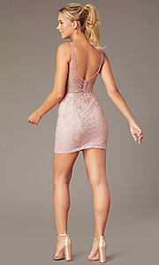 Image of embroidered-mesh short sparkly homecoming dress. Style: NA-A673 Back Image
