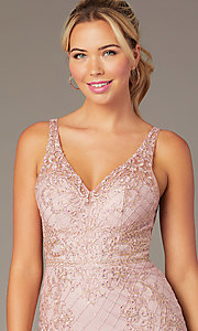 Image of embroidered-mesh short sparkly homecoming dress. Style: NA-A673 Detail Image 1