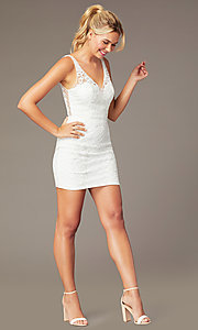 Image of embroidered-mesh short sparkly homecoming dress. Style: NA-A673 Detail Image 3