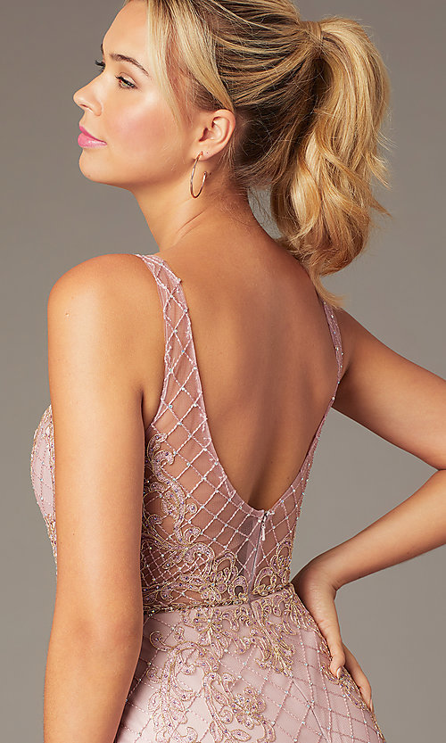 Image of embroidered-mesh short sparkly homecoming dress. Style: NA-A673 Detail Image 2