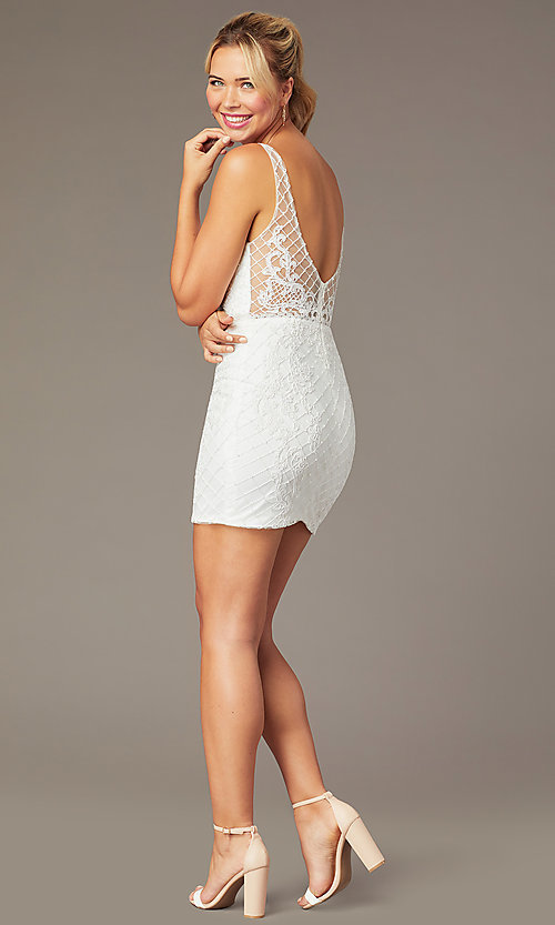 Image of embroidered-mesh short sparkly homecoming dress. Style: NA-A673 Detail Image 4